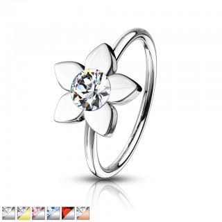 Coloured nose hoop with flower and coloured crystal