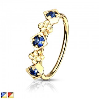 Crystalised lined floral square topped bendable nose ring