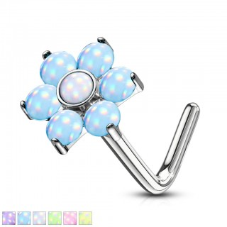 Shiny stone set flower top nose stud piercing