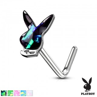 Playboy bunny topped nose stud piercing with glittering opal