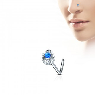 Neus stud met tear drop en prong set Opaal