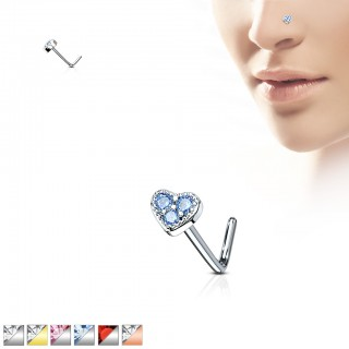Nose stud with heart top of three coloured crystals