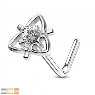 Crystal centered heart filigree nose stud