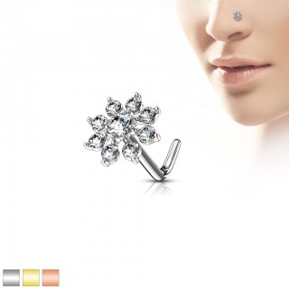 Nose stud with coloured flower top with clear crystals