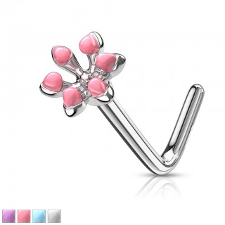 Enameled flower top 316L surgical steel L bend nose stud
