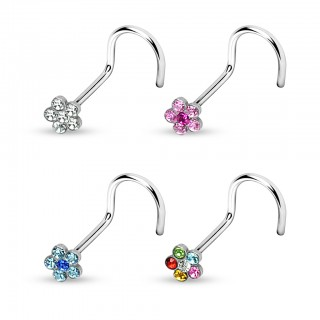 Nose piercing with flower and coloured crystals