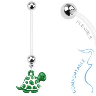 Flexible pregnancy belly ring with turtle
