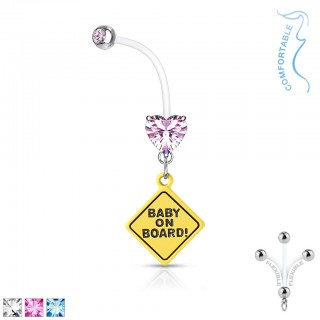 Prong set heart Baby on Board signed pregnancy belly bar