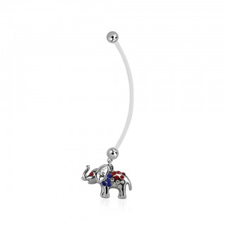 Pregnancy belly bar with crystalised dangling elephant