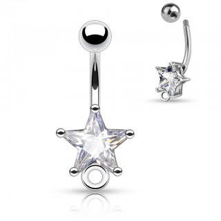 Belly button piercing with star crystal and O-ring for dangle