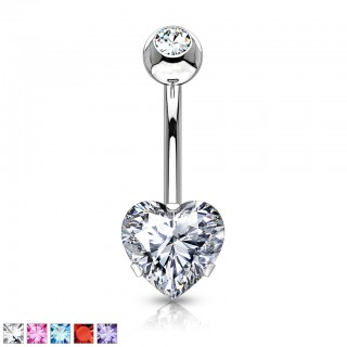Belly button ring with prong set heart
