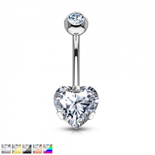 Coloured belly button bar with prong set heart crystal