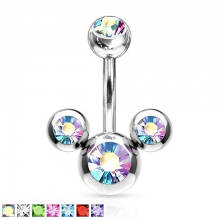 Belly bar with three balls and crystals