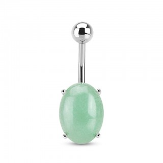 Belly ring with oval amazonite stone