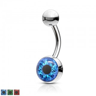 Belly bar with coloured open eye inlay ball