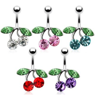 Belly button bar with coloured crystal cherry
