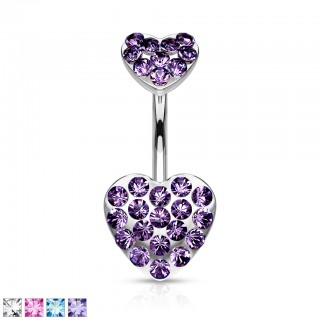 Belly bar with double crystal paved heart