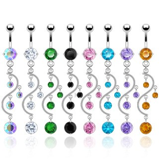 Belly bar with spiral dangle of gemstones
