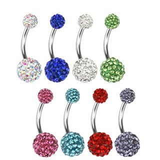 Belly bar with coloured ferido balls
