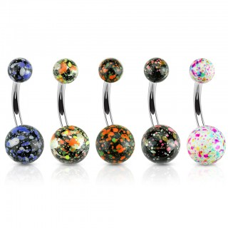 Belly ring with splatters on coloured balls