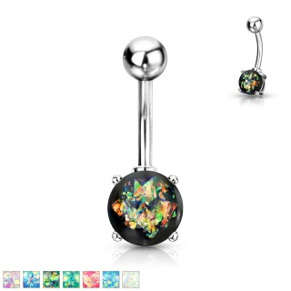 Silver belly bar with coloured glitter opal ball
