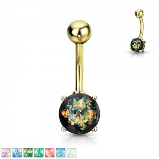 Gold belly bar with coloured glitter opal ball