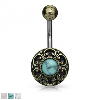 Antique gold belly piercing with gemstone in heart filigrane
