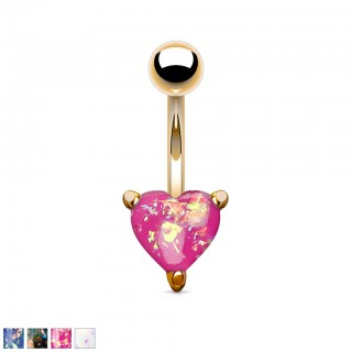 Rose gold belly bar with coloured glitter opal heart