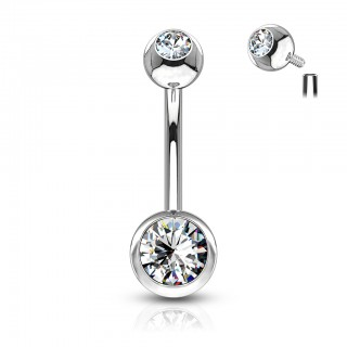 Internally threaded belly button piercing with clear stone