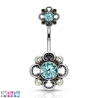 Jewel centered floral filigree adorned belly bars