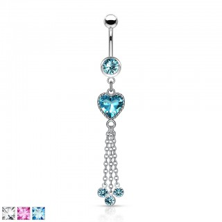 Dangling heart adorned belly bar with chains and balls