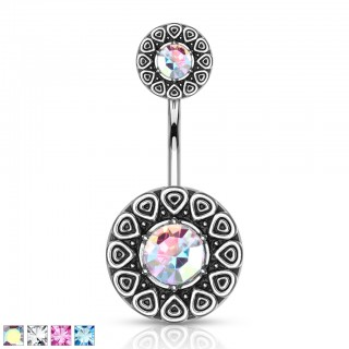 Crystalised centre tribal pattern with similar top belly bar