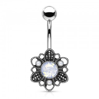 White opal centred floral decorated belly bar
