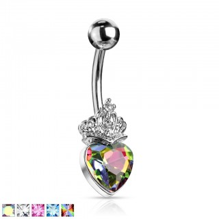 Belly bar with large heart crystal with tiara