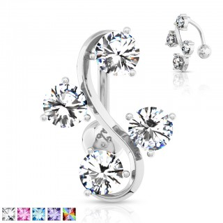 Reverse belly bar with four crystals within S-shape