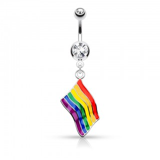 Belly bar with dangling rainbow flag and double jewelled