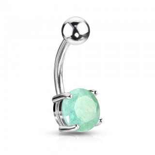 Belly bar with Jade Stone