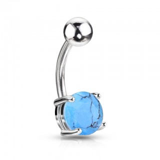 Belly button piercing with Turquoise stone
