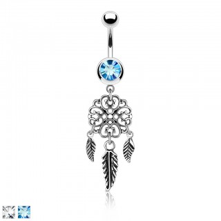 Belly button piercing with filigree dream catcher and feathers