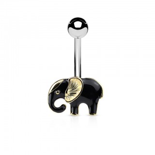 Belly ring with gold and black elephant