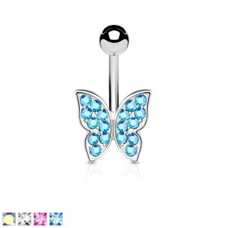 Belly bar with butterfly of coloured gemstones