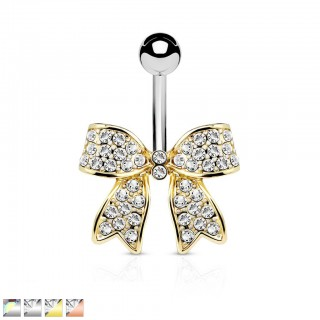 Belly bar with ribbon of coloured diamonds