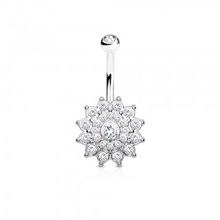 Silver belly bar with sun and many clear crystals