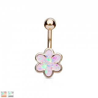 Large floral belly button piercing with opal gem