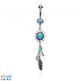 Belly bar with turquoise sun and coloured charms