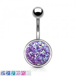 Belly bar with large coloured druse stone disc