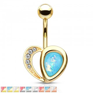 Crystalised heart with opal glitter half belly bar piercing