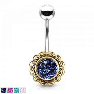 Gold filigree floral belly bar with druzy stone centre