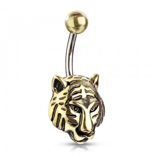 Belly bar with gold tiger head as bottom ball