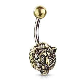 Belly bar with gold lions head